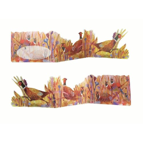Judy Lumley Pheasants in Field  3D Trifold card