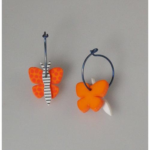 Lene Lundberg Orange butterfly hoops