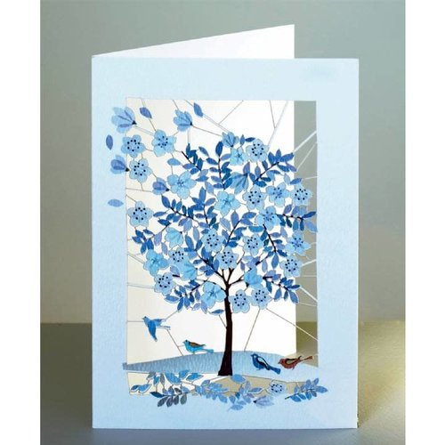 Forever Cards Blue Tree Laser geschnittene Karte