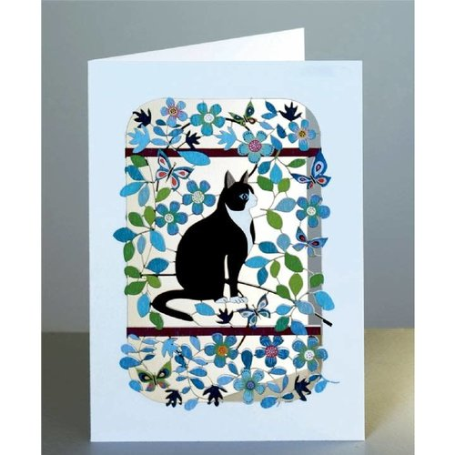 Forever Cards Black and White cat Laser cut card