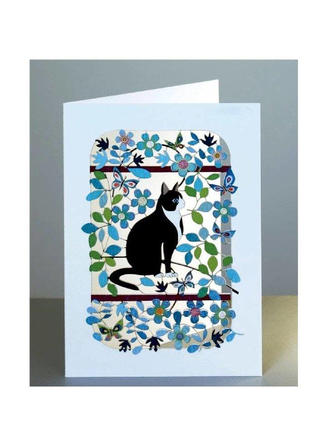 Schwarzweiss-Katze Laser-Schnittkarte
