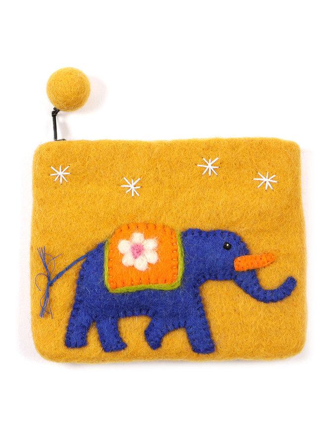 Orange Elefant Geldbörse Filz 05