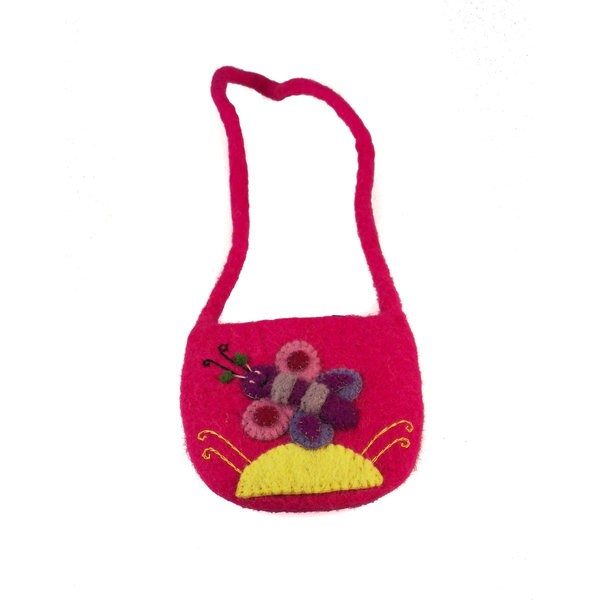 Butterfly Bright pink Small Strap Bag Felt 16