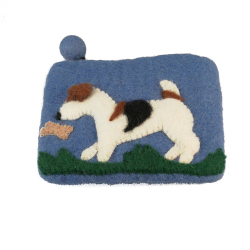 Pretty Craft Blue Dog and Butterfly  Purse Felt 11
