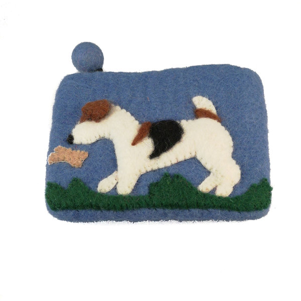 Blue Dog and Butterfly  Purse Felt 11