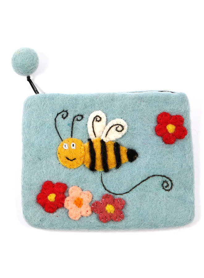 Blue Bee Purse Felt 01