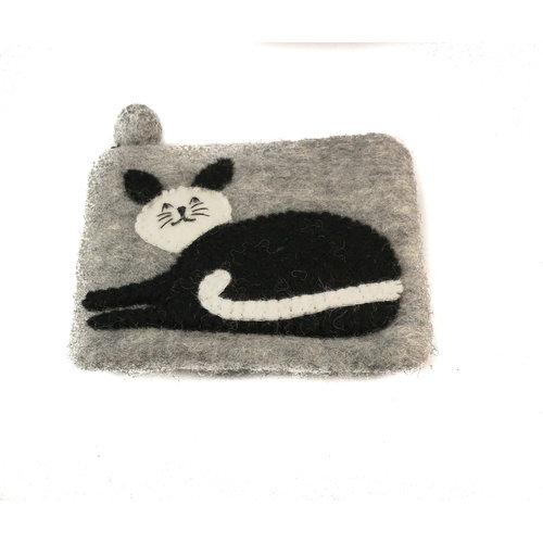 Pretty Craft Black and White Cat  Purse Felt 10