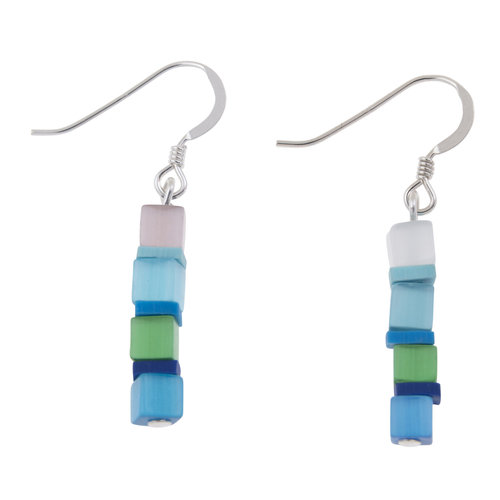 Carrie Elspeth Earrings Day-time Cats Eye Blue cubes 020