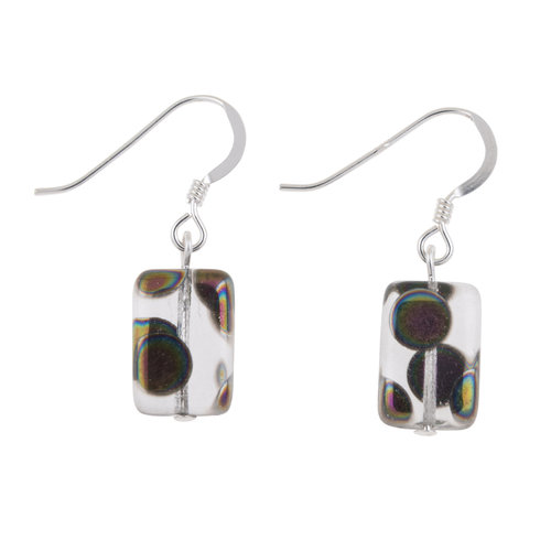 Carrie Elspeth Earrings Clear Dotty Rectangle  027