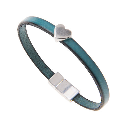 Carrie Elspeth Turquoise Faux Leather Heart Charm Bracelet