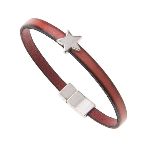 Carrie Elspeth Red Faux Leather Star charm Bracelet