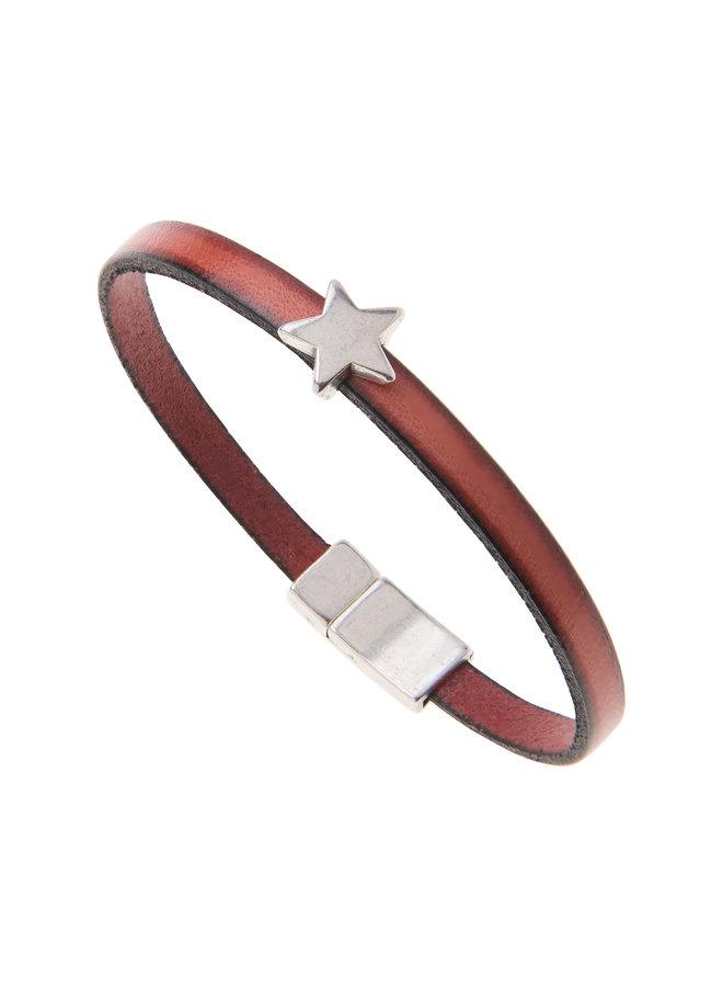 Rotes Stern-Bettelarmband aus Kunstleder