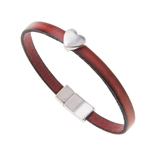 Carrie Elspeth Red Faux Leather Heart Charm Bracelet