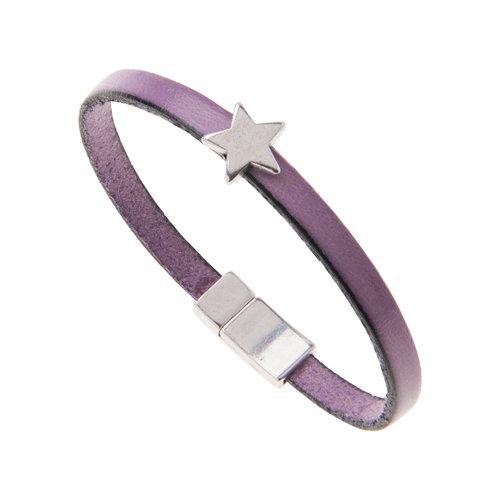 Carrie Elspeth Pulsera con dije de piel sintética púrpura