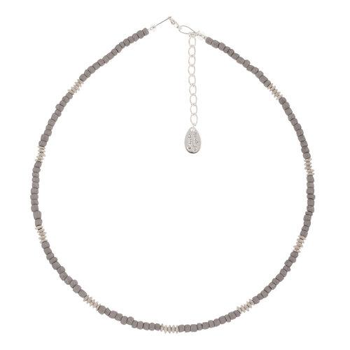 Carrie Elspeth Collar Semillas de vidrio Funky gris