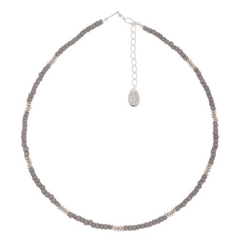 Carrie Elspeth Necklace Grey  Funky Glass Seeds