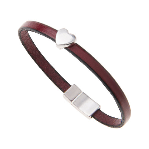 Carrie Elspeth Burgandy Faux Leather Heart Charm Bracelet