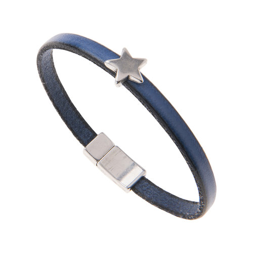 Carrie Elspeth Blue Faux Leather Star charm Bracelet