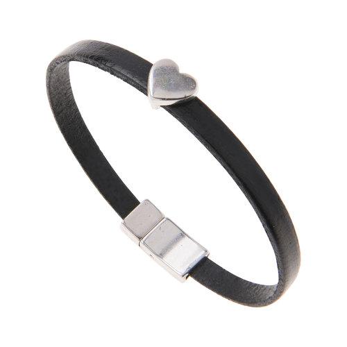 Carrie Elspeth Black Leather Heart Charm Bracelet