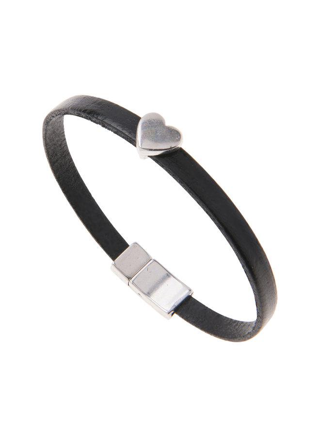 Bracelet à breloques cœur en similicuir noir