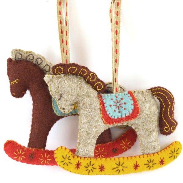 Rocking Horses Felt  Embroidery Craft  Kit