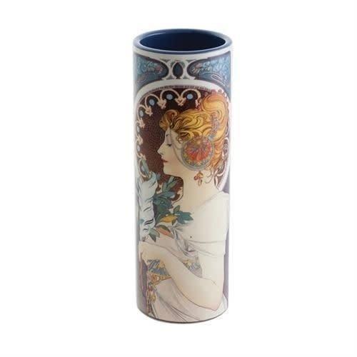 Dartington Crystal Ltd Mucha Schlüsselblume und Feder Kleine Kunstvase aus Keramik 014
