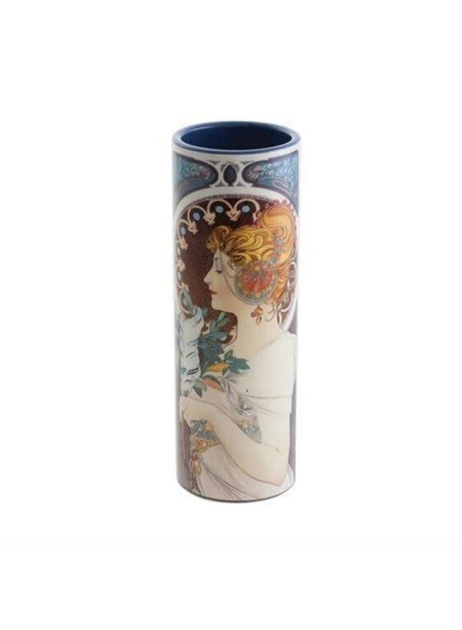 Mucha Schlüsselblume und Feder Kleine Kunstvase aus Keramik 014