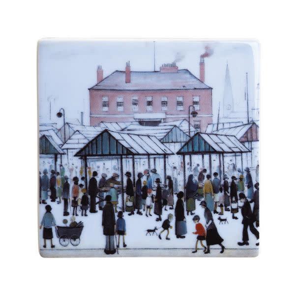 Lowry Market Scene Ceramic Coaster 050