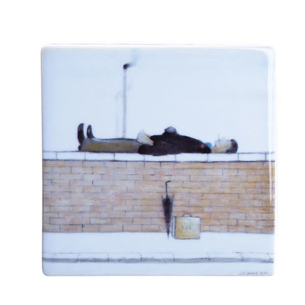 Lowry Man on a Wall Ceramic Coaster 052