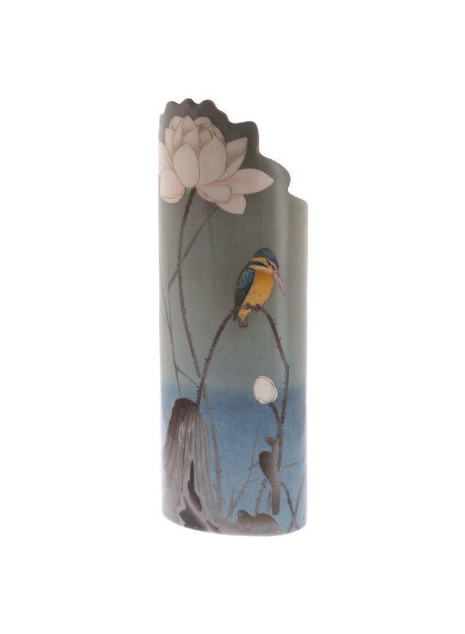 Eisvogel auf Barsch-Schattenbild Art Vase 042