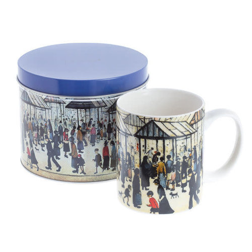 Dartington Crystal Ltd Lowry Market Scene Art  Mug in a Tin 076
