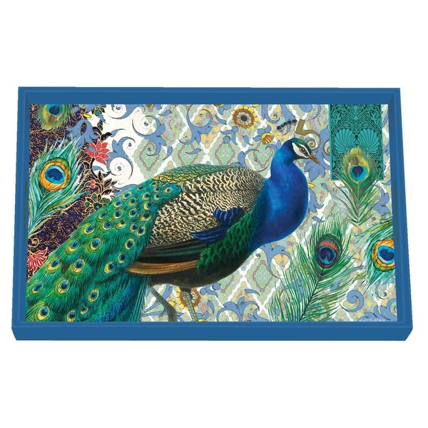 Peacock Vanity Decoupage Wooden Tray