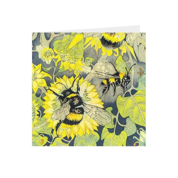 Bees in yellow flowers square card 08