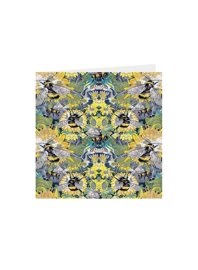 Busy Bees Kaleidoscopic square card 01