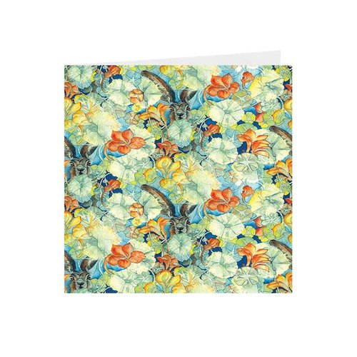 Juppi Hares and Nasturtiums Kaleidoscopic square card 04