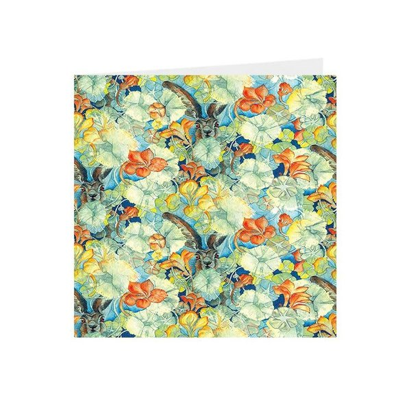 Hares and Nasturtiums Kaleidoscopic square card 04