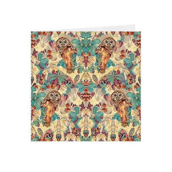 Hoot Owl in Oak Kaleidoscopic square card 02
