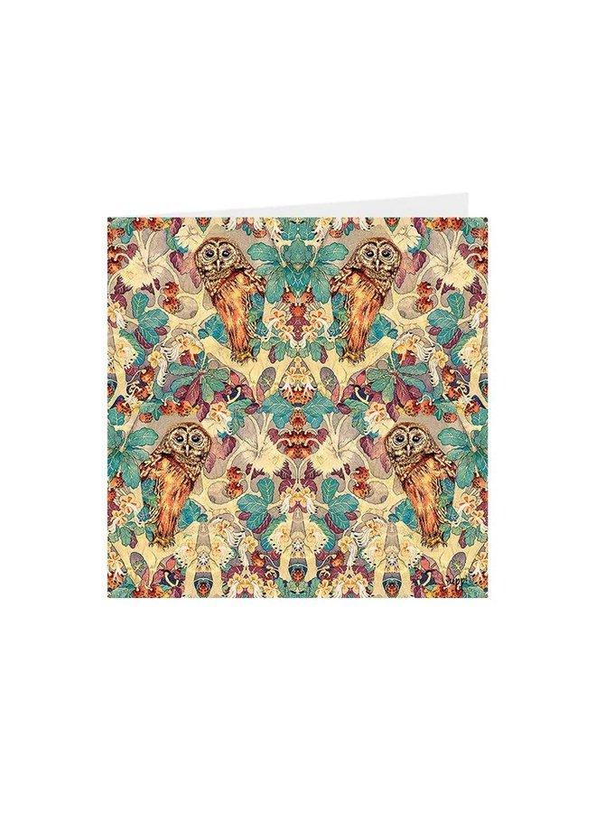 Hoot Owl in Oak Kaleidoscopic square card 02