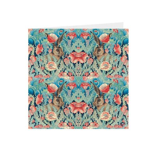 Juppi Poppies and Hares Kaleidoscopic square card 03