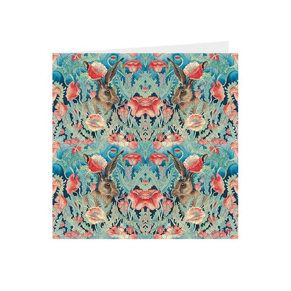 Poppies and Hares Kaleidoscopic square card 03