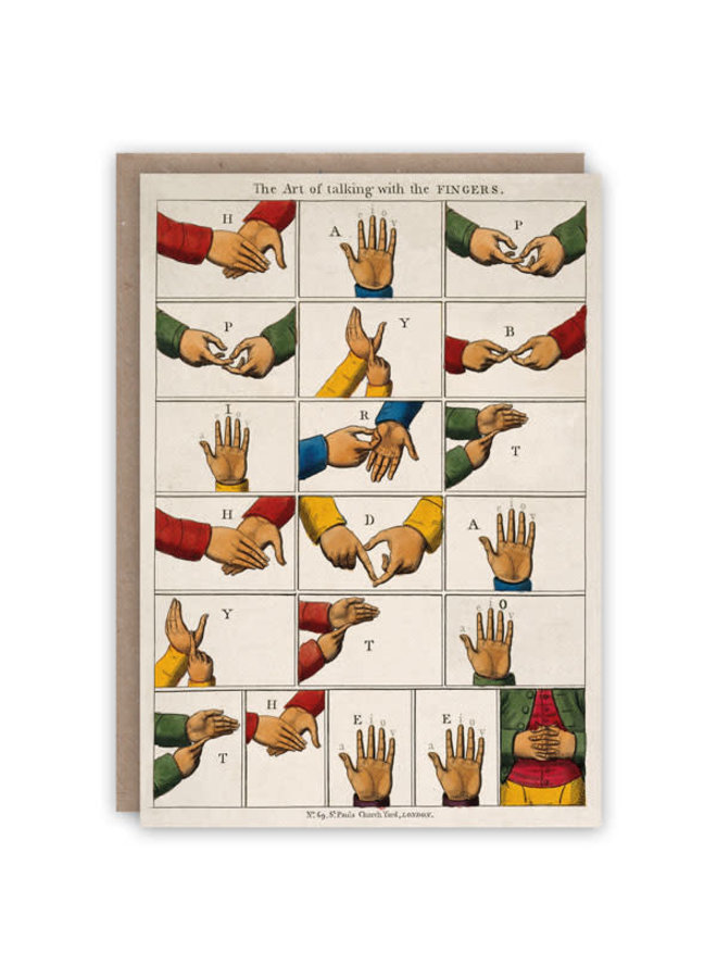 Sprechenfinger-Muster-Buch-Karte
