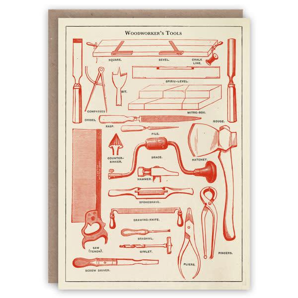 Tarjeta de libro de patrones de herramientas de carpintero
