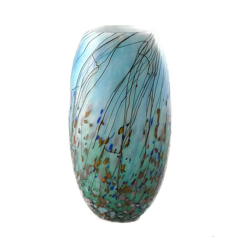 Martin Andrews Meadow series blue small curved vase 86