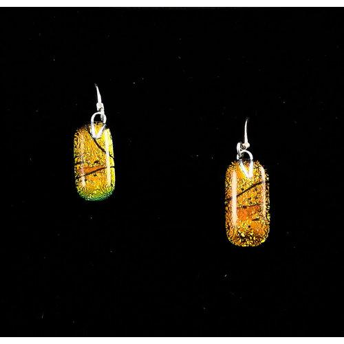 Mere Glass Dichroic Glass Drop earrings Amber 20