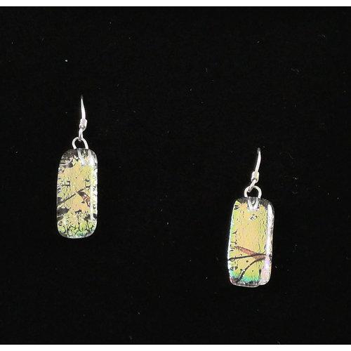 Mere Glass Dichroic Glass Drop earrings Cool Green 17