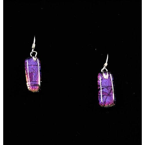 Mere Glass Pendientes colgantes de vidrio dicroico Púrpura 14