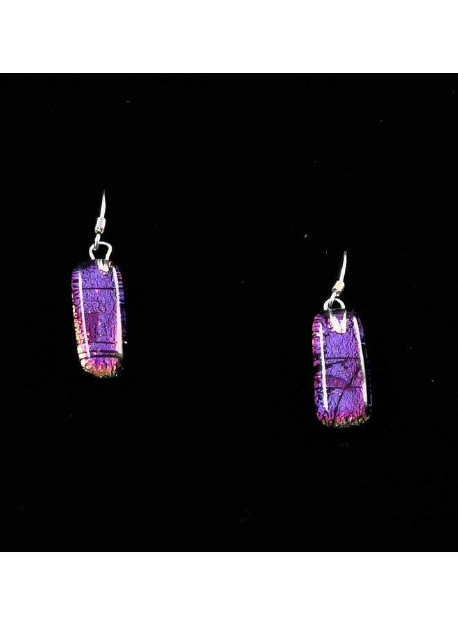 Lila und Pink Dichroic Glass Drop Ohrringe 14