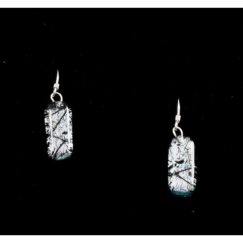Mere Glass Dichroic Glass Drop earrings Silver 16