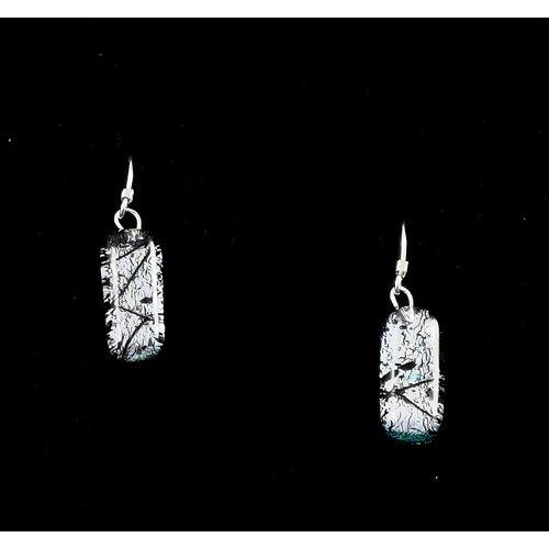 Mere Glass Dichroitische Glastropfenohrringe Silber 16