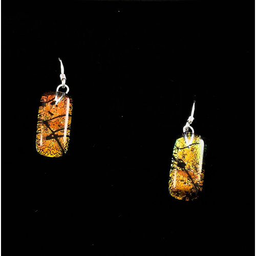 Mere Glass Dichroic Glass Drop earrings Sunset 19